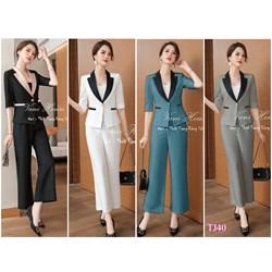 Set nguyên bộ áo Vest quần ống suông kèm áo trong TJ40 - V355