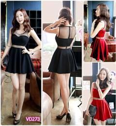 Đầm đen phối lưới korea VD273 - V150