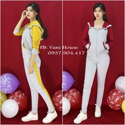 Set nguyên bộ đồ thể thao phối màu có nón xinh xắn VJ183 - V155