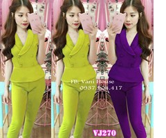 Set nguyên bộ áo tùng xòe nút bọc quần dài VJ270 - V95