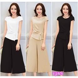Set nguyên bộ quần dài áo nhúm cách điệu VJ406 - V165