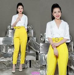 Set nguyên bộ áo cổ V quần lửng kèm belt VJ443 - V180