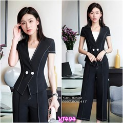 Set nguyên bộ áo vest quần dài chỉ nổi VJ494 - V215