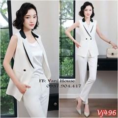 Set nguyên bộ áo vest cách điệu quần dài VJ496 - V215