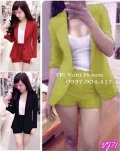 Set nguyên bộ quần short áo vest tay dài kèm áo thun VJ71 - V230
