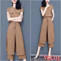 Hàng Nhập: Set nguyên bộ áo tay con quần lửng phối tà VQC115 - V325