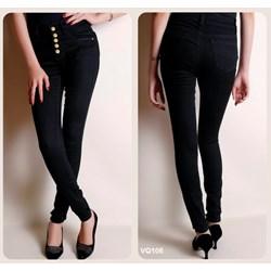 Quần jean đen lưng cao 5 nút VQ106 - V75