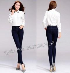 Quần jean lưng cao 1 nút xanh đen VQ119 - V120