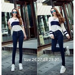 Quần jean xanh lưng cao 4 nút xinh xắn VQ154 - V75