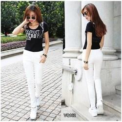 Quần jean trắng lưng cao 1 nút VQ162 - V150