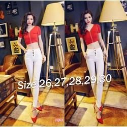 Quần jean trắng lưng cao 4 nút VQ64 - V150