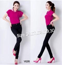 Quần jean đen lưng cao 1 nút 2 túi trước VQ75 - V75