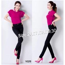 Quần jean đen lưng cao 1 nút 2 túi trước VQ75 - V120