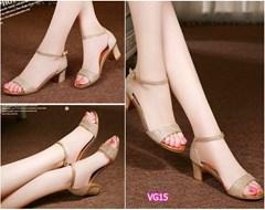 Giày gót vuông đế viền vàng cao cấp VG15 - V185