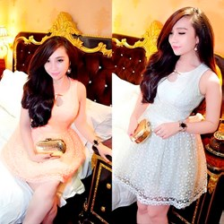 Đầm búp bê ren bông liti giống bella VD118