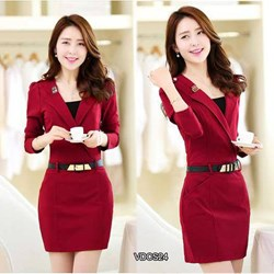 Đầm công sở tay dài cổ vest VDCS24 - V170