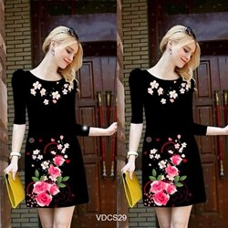 Đầm suông tay lở in hoa 3D sắc xuân VDCS29 - V185