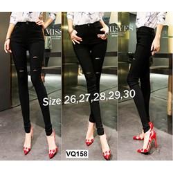 Quần jean đen lưng cao 1 nút rách 2 bên VQ158 - V150