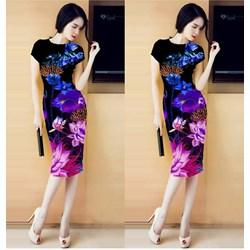 Đầm ôm in hoa 3D