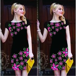 Đầm suông in hoa 3D VD249