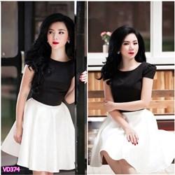 Set áo đen tay con chân váy trắng xòe VD374 - V160